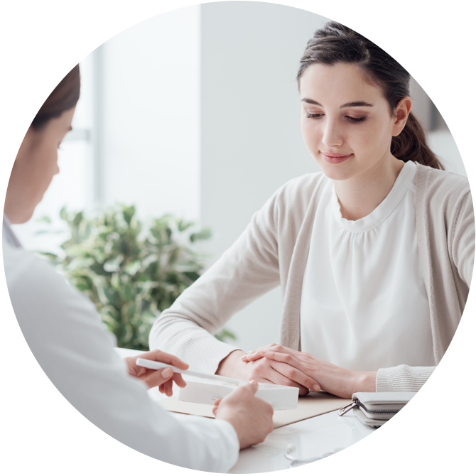 patient and provider reviewing documents